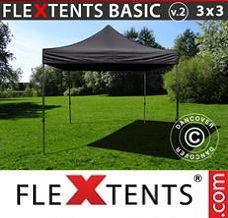 Flextelt 3x3m Sort