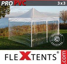 Flextelt 3x3m Transparent, inkl. 4 sider