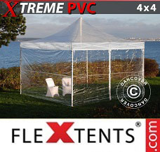 Flextelt 4x4m Transparent, inkl. 4 sider