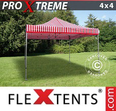 Flextelt 4x4m Stribet